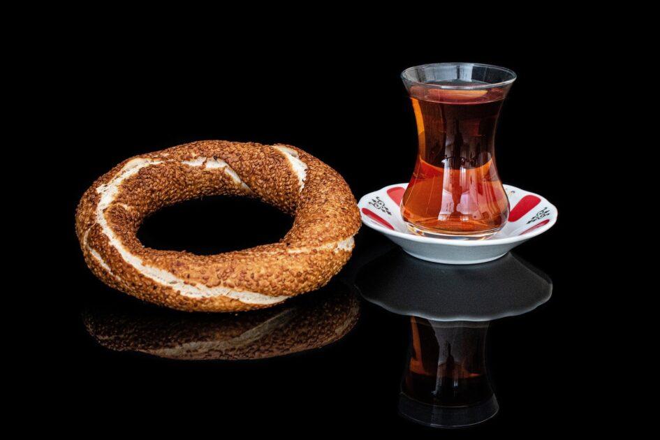 Turkish tea glass & simit (bagel)
