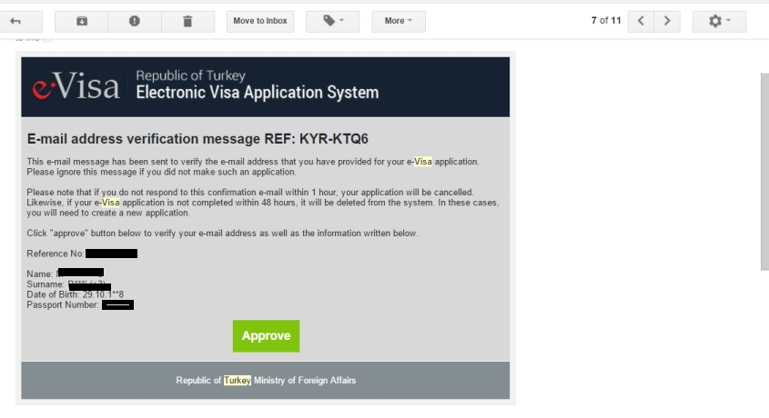 online visa for Turkey approval page