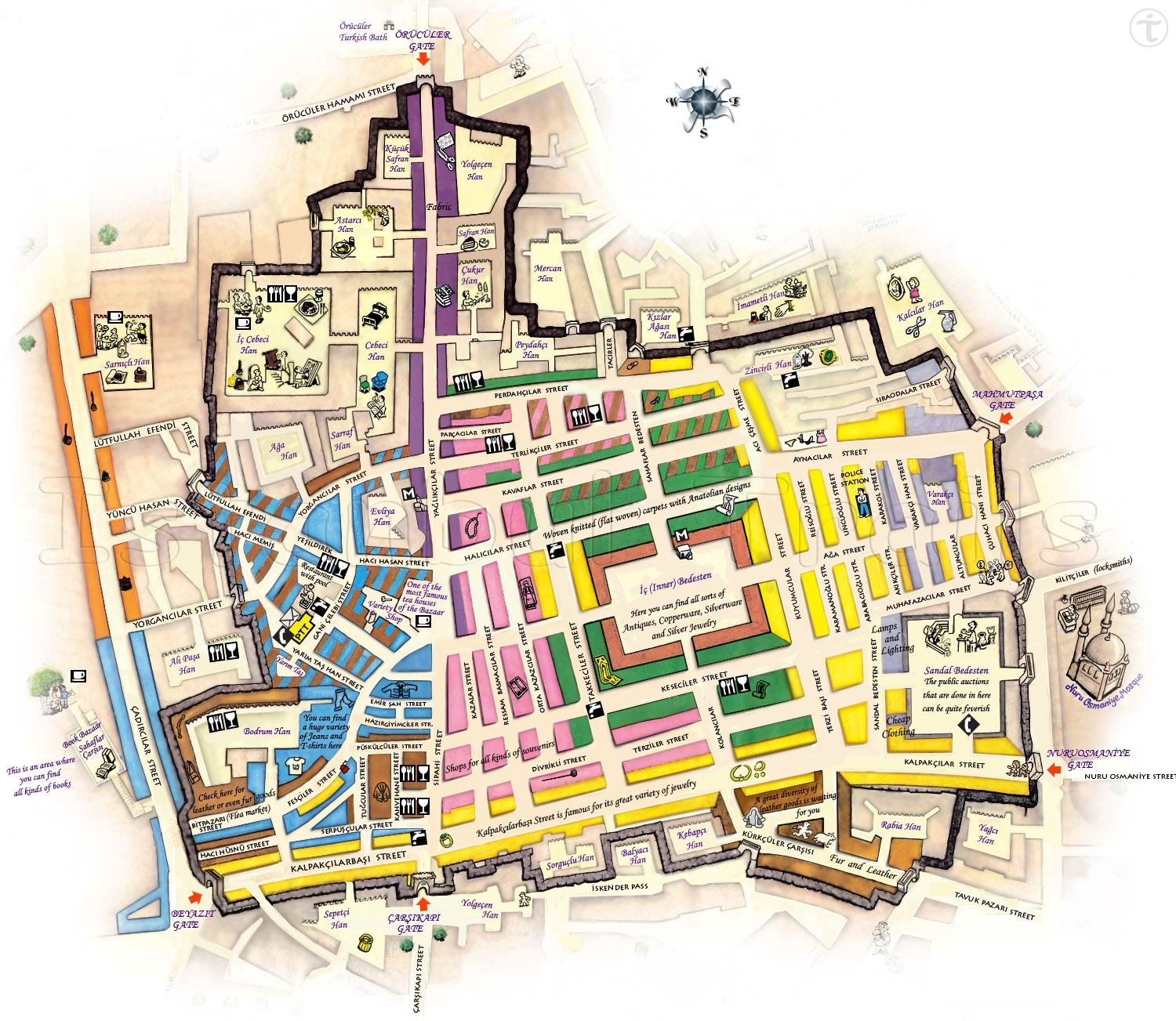 the grand bazaar istanbul map