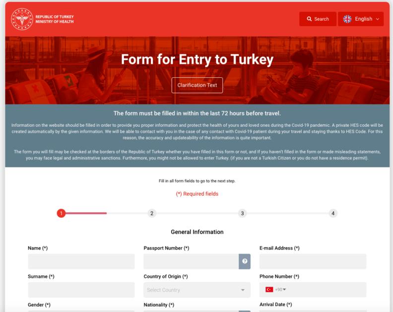 Регистрационная форма на въезд в Турцию
