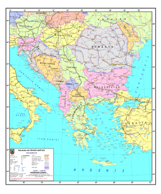 Location of Turkey in the East Europe