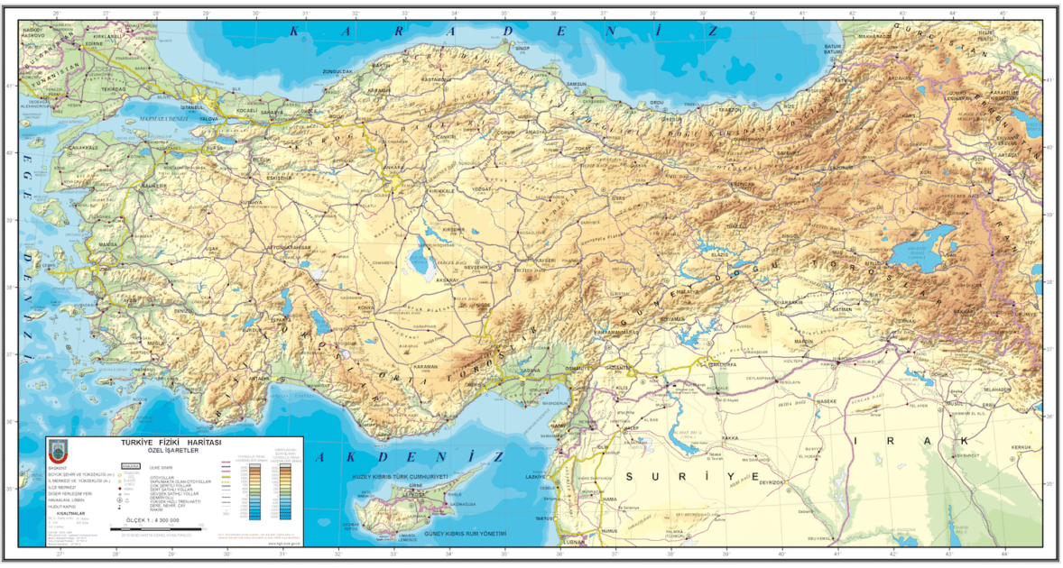 Turkey geographical map