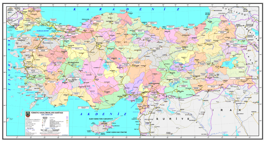 map of airports in Turkey